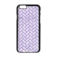 Brick2 White Marble & Purple Denim (r) Apple Iphone 6/6s Black Enamel Case