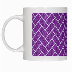 Brick2 White Marble & Purple Denim White Mugs by trendistuff