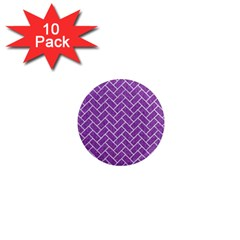 Brick2 White Marble & Purple Denim 1  Mini Magnet (10 Pack)