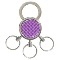 Brick2 White Marble & Purple Denim 3 Ring Key Chains