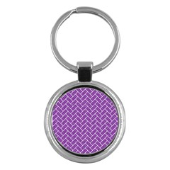 Brick2 White Marble & Purple Denim Key Chains (round)