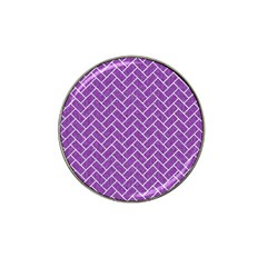 Brick2 White Marble & Purple Denim Hat Clip Ball Marker (4 Pack)