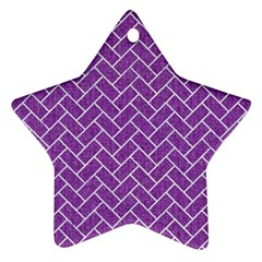 Brick2 White Marble & Purple Denim Star Ornament (two Sides)