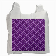 Brick2 White Marble & Purple Denim Recycle Bag (two Side)