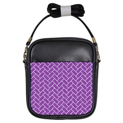 Brick2 White Marble & Purple Denim Girls Sling Bags