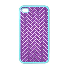 Brick2 White Marble & Purple Denim Apple Iphone 4 Case (color)
