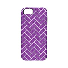 Brick2 White Marble & Purple Denim Apple Iphone 5 Classic Hardshell Case (pc+silicone)