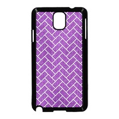 Brick2 White Marble & Purple Denim Samsung Galaxy Note 3 Neo Hardshell Case (black)