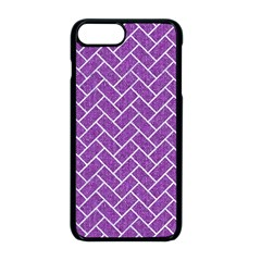 Brick2 White Marble & Purple Denim Apple Iphone 8 Plus Seamless Case (black) by trendistuff