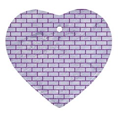 Brick1 White Marble & Purple Denim (r) Ornament (heart)