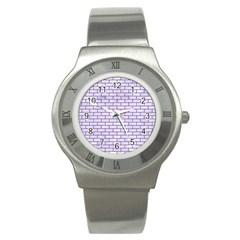 Brick1 White Marble & Purple Denim (r) Stainless Steel Watch