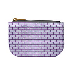 Brick1 White Marble & Purple Denim (r) Mini Coin Purses