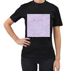 Brick1 White Marble & Purple Denim (r) Women s T Shirt (black)