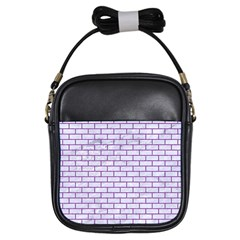 Brick1 White Marble & Purple Denim (r) Girls Sling Bags by trendistuff