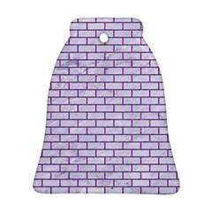 Brick1 White Marble & Purple Denim (r) Ornament (bell)