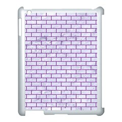 Brick1 White Marble & Purple Denim (r) Apple Ipad 3/4 Case (white)