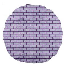 Brick1 White Marble & Purple Denim (r) Large 18  Premium Round Cushions