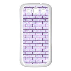 Brick1 White Marble & Purple Denim (r) Samsung Galaxy S3 Back Case (white)