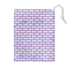 Brick1 White Marble & Purple Denim (r) Drawstring Pouches (extra Large)