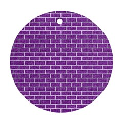 Brick1 White Marble & Purple Denim Ornament (round)