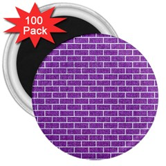 Brick1 White Marble & Purple Denim 3  Magnets (100 Pack)