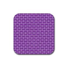 Brick1 White Marble & Purple Denim Rubber Square Coaster (4 Pack)