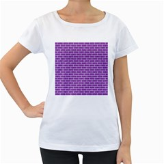 Brick1 White Marble & Purple Denim Women s Loose Fit T Shirt (white)