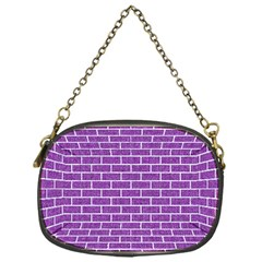 Brick1 White Marble & Purple Denim Chain Purses (one Side)