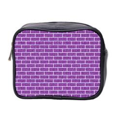 Brick1 White Marble & Purple Denim Mini Toiletries Bag 2 Side