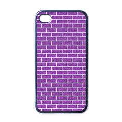 Brick1 White Marble & Purple Denim Apple Iphone 4 Case (black)