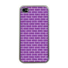 Brick1 White Marble & Purple Denim Apple Iphone 4 Case (clear)