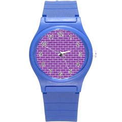 Brick1 White Marble & Purple Denim Round Plastic Sport Watch (s)