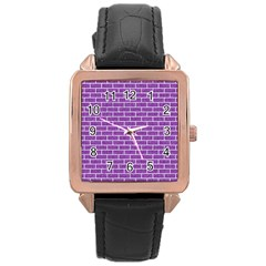 Brick1 White Marble & Purple Denim Rose Gold Leather Watch