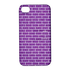 Brick1 White Marble & Purple Denim Apple Iphone 4/4s Hardshell Case With Stand