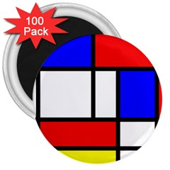 Piet Mondrian Mondriaan Style 3  Magnets (100 Pack) by yoursparklingshop
