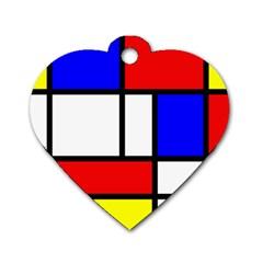 Piet Mondrian Mondriaan Style Dog Tag Heart (one Side)