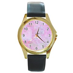 Soft Pink Watercolor Art Round Gold Metal Watch