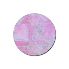Soft Pink Watercolor Art Rubber Round Coaster (4 Pack)