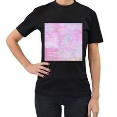 Soft Pink Watercolor Art Women s T Shirt (black) (two Sided)