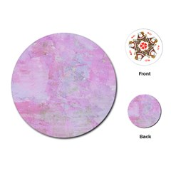 Soft Pink Watercolor Art Playing Cards (round)