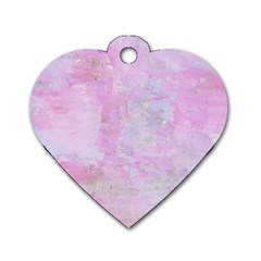 Soft Pink Watercolor Art Dog Tag Heart (one Side)