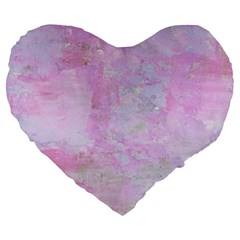 Soft Pink Watercolor Art Large 19  Premium Heart Shape Cushions