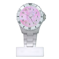 Soft Pink Watercolor Art Plastic Nurses Watch