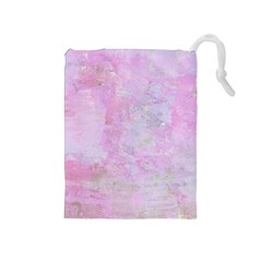 Soft Pink Watercolor Art Drawstring Pouches (medium)