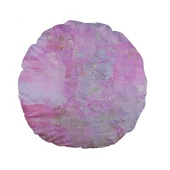 Soft Pink Watercolor Art Standard 15  Premium Flano Round Cushions