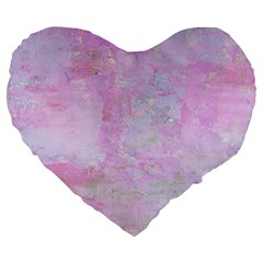 Soft Pink Watercolor Art Large 19  Premium Flano Heart Shape Cushions