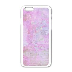 Soft Pink Watercolor Art Apple Iphone 6/6s White Enamel Case
