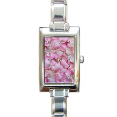 Romantic Pink Rose Petals Floral  Rectangle Italian Charm Watch