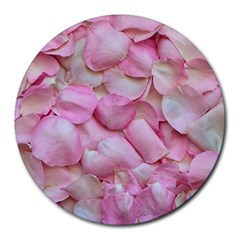 Romantic Pink Rose Petals Floral  Round Mousepads by yoursparklingshop