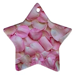 Romantic Pink Rose Petals Floral  Ornament (star)